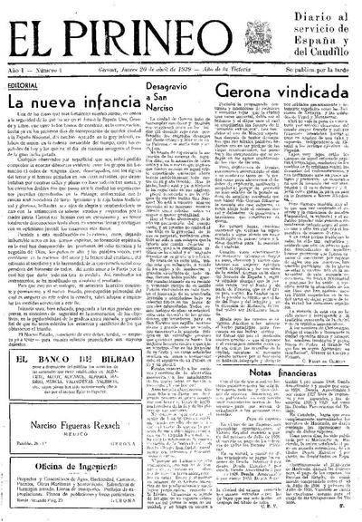 Pirineo, El. 20/4/1939. [Issue]