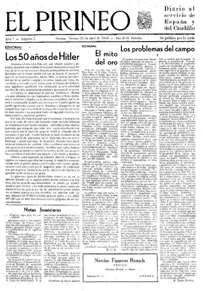 Pirineo, El. 21/4/1939. [Issue]