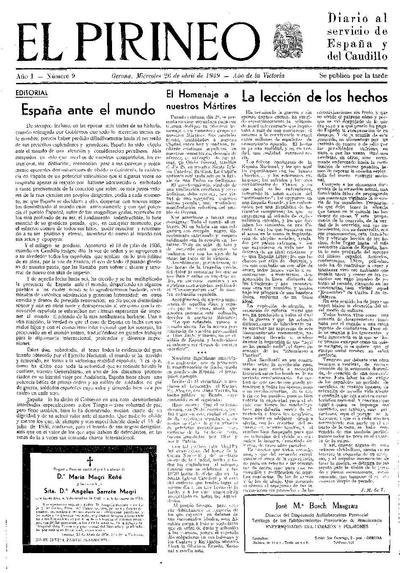 Pirineo, El. 26/4/1939. [Issue]