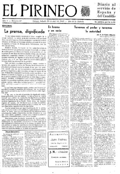 Pirineo, El. 29/4/1939. [Issue]