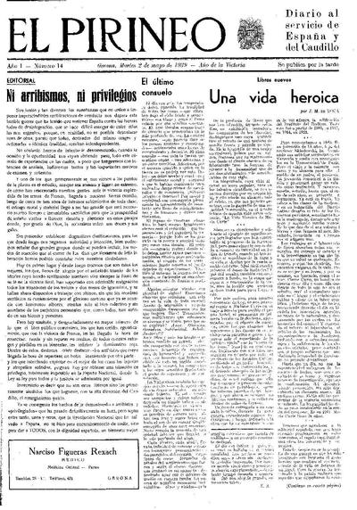 Pirineo, El. 2/5/1939. [Issue]