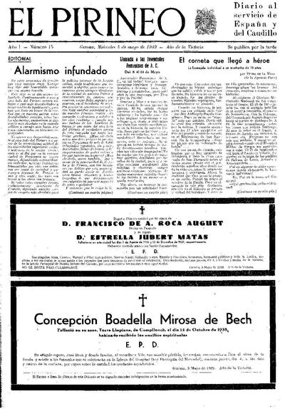 Pirineo, El. 3/5/1939. [Issue]