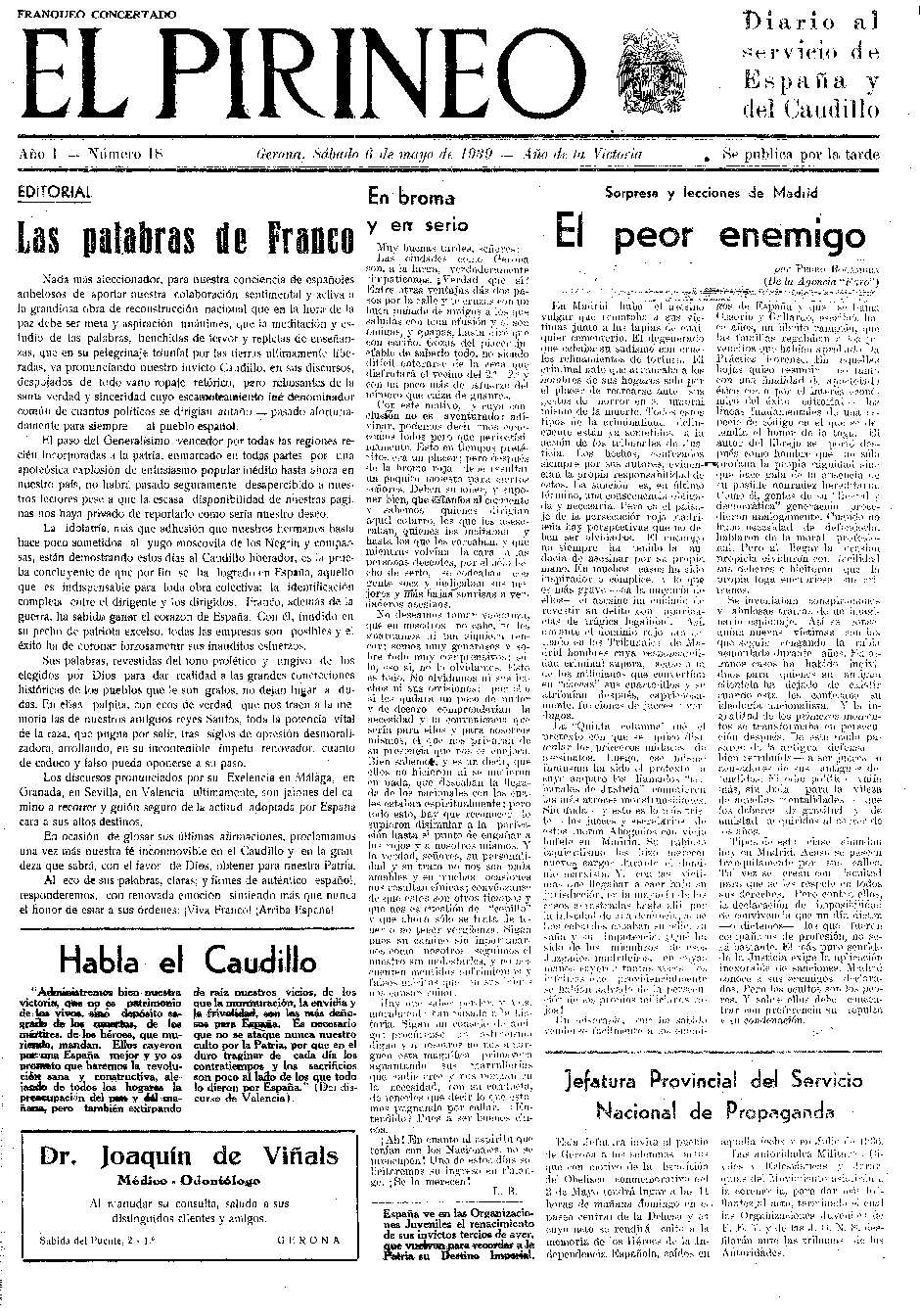 Pirineo, El. 6/5/1939. [Issue]