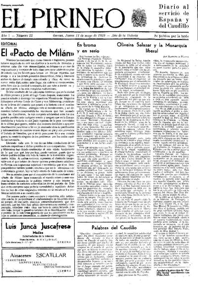Pirineo, El. 11/5/1939. [Issue]