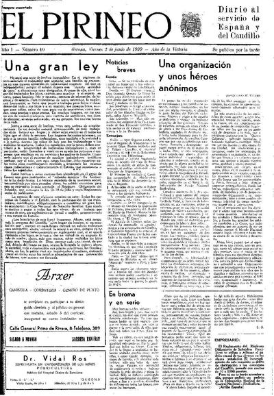 Pirineo, El. 2/6/1939. [Issue]