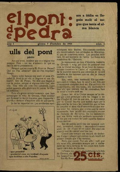 Pont de pedra, El. 7/10/1935. [Issue]