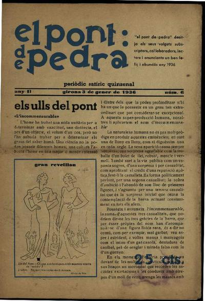 Pont de pedra, El. 3/1/1936. [Issue]