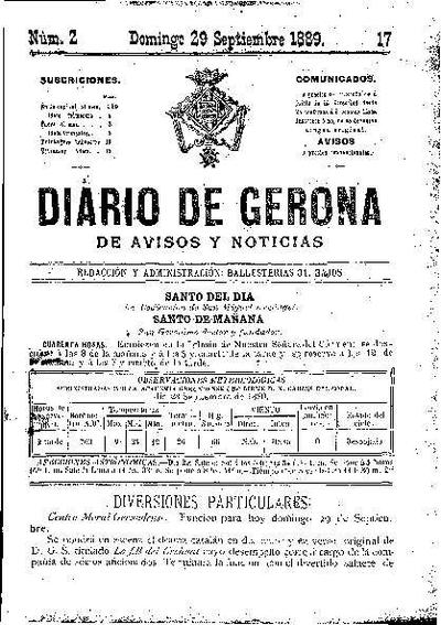Diario de Gerona de Avisos y Noticias. 29/9/1889. [Issue]