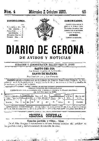 Diario de Gerona de Avisos y Noticias. 2/10/1889. [Issue]