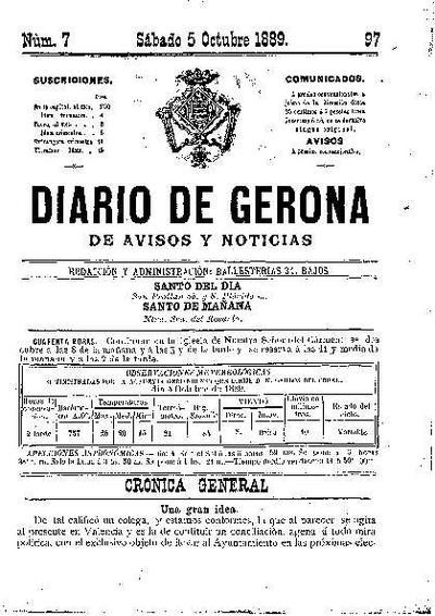 Diario de Gerona de Avisos y Noticias. 5/10/1889. [Issue]