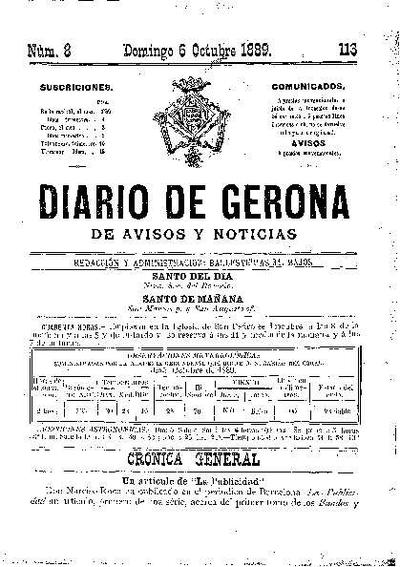 Diario de Gerona de Avisos y Noticias. 6/10/1889. [Issue]