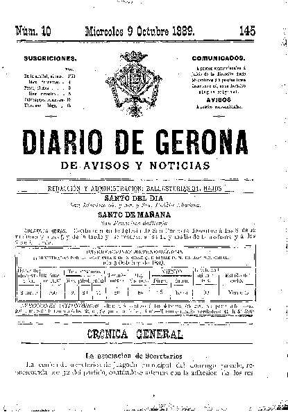 Diario de Gerona de Avisos y Noticias. 9/10/1889. [Issue]