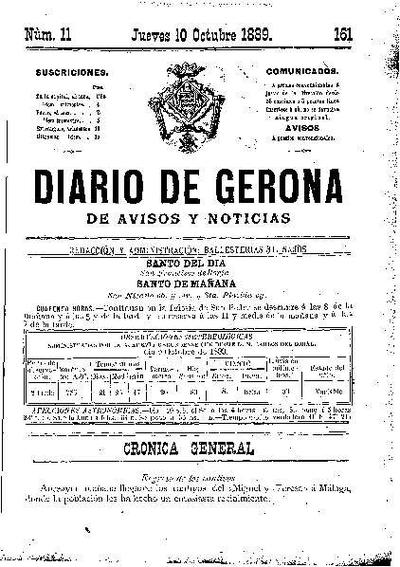 Diario de Gerona de Avisos y Noticias. 10/10/1889. [Issue]