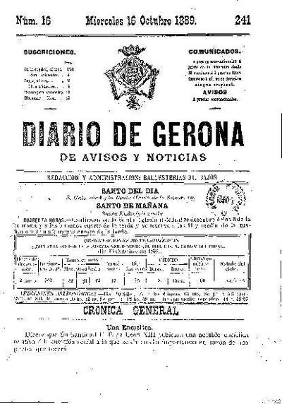 Diario de Gerona de Avisos y Noticias. 16/10/1889. [Issue]