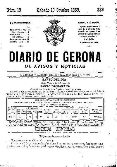 Diario de Gerona de Avisos y Noticias. 19/10/1889. [Issue]