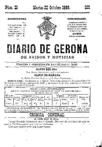 Diario de Gerona de Avisos y Noticias. 22/10/1889. [Issue]