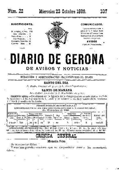 Diario de Gerona de Avisos y Noticias. 23/10/1889. [Issue]