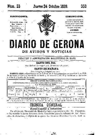 Diario de Gerona de Avisos y Noticias. 24/10/1889. [Issue]