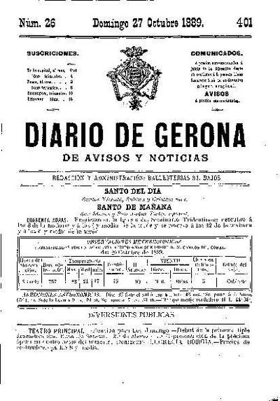Diario de Gerona de Avisos y Noticias. 27/10/1889. [Issue]