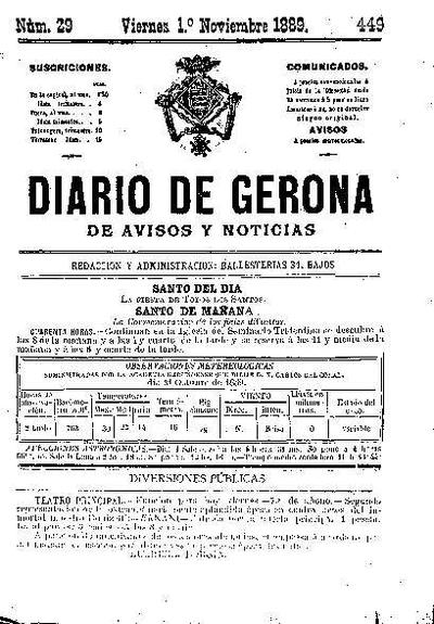 Diario de Gerona de Avisos y Noticias. 1/11/1889. [Issue]
