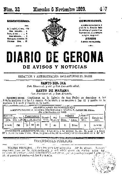 Diario de Gerona de Avisos y Noticias. 6/11/1889. [Issue]