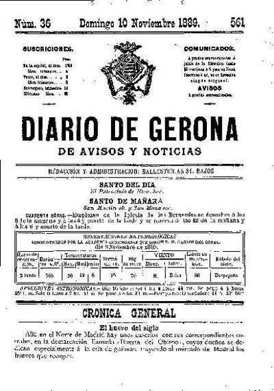 Diario de Gerona de Avisos y Noticias. 10/11/1889. [Issue]