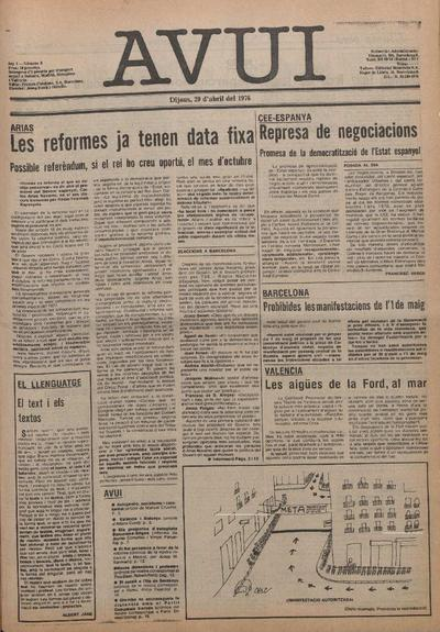 Avui. 29/4/1976. [Issue]