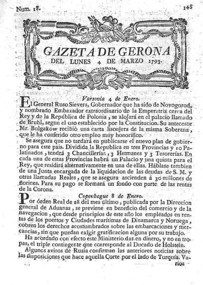 Gazeta de Gerona. 4/3/1793. [Issue]