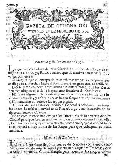 Gazeta de Gerona. 1/2/1793. [Issue]