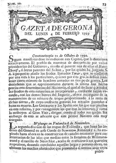 Gazeta de Gerona. 4/2/1793. [Issue]