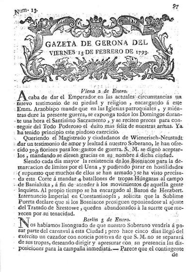 Gazeta de Gerona. 15/2/1793. [Issue]