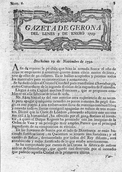 Gazeta de Gerona. 7/1/1793. [Issue]