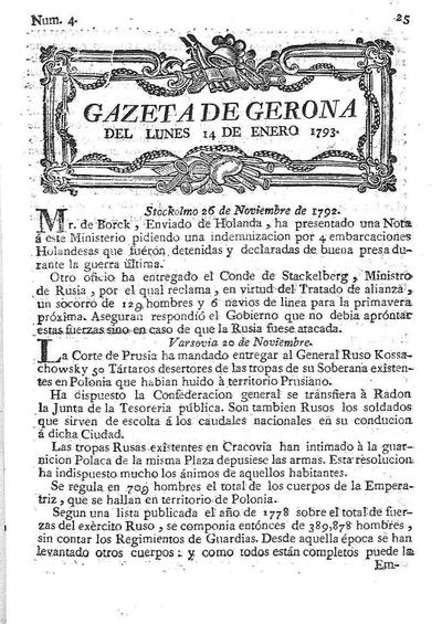 Gazeta de Gerona. 14/1/1793. [Issue]