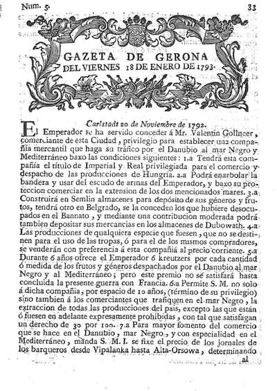 Gazeta de Gerona. 18/1/1793. [Issue]