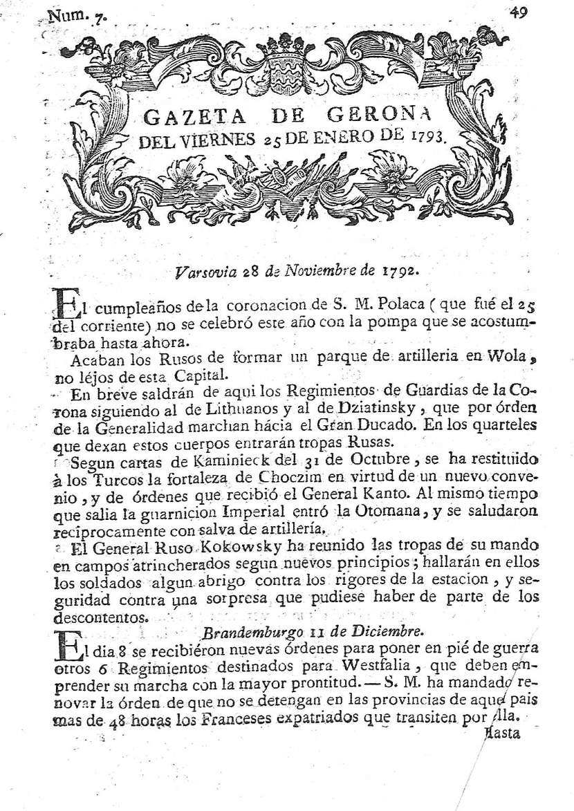 Gazeta de Gerona. 25/1/1793. [Issue]